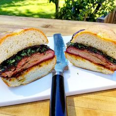 """This Is Seriously One Incredible Follow Up Post From @Kendrick_bbq's Amazing Spin On A McRib Video!!!! Wow! . Who Wants One Besides Me??? . """"Seriously my favorite sandwich I've ever eaten. The pork and caramelized red onions worked perfect together. 5 hour pork spare ribs done on my @traegergrills and packed the flavors on the ribs with my favorites from @code3spices and @saucin_sauces.  @shuncutlery classic bread knife made easy work cutting this bad boy up. Thank you @buzzfeedtasty for the…"""