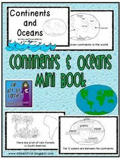 Continents and Oceans Second Grade | Continents and Oceans Mini Book | schooled