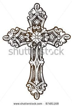 Catholic Cross Drawingornate Cross Hand Drawn Stock Photo Shutterstock Vettvhbe | Tatto Designs 8