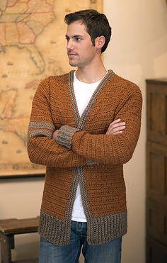 Ravelry: Classic Letterman Sweater pattern by Rohn Strong Crochet Men, Crochet Wool, Crochet Winter, Crochet Cardigan Pattern, Crochet Jacket, Crochet Patterns, Boys Sweaters, Men Sweater, Letterman Sweaters