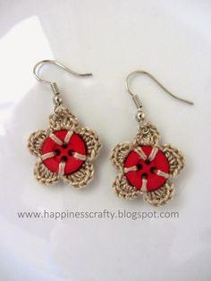 Crochet Button Earrings by Jersica