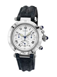 Cartier Pasha de Cartier Black Leather Watch, 38mm by Cartier at Gilt