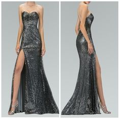 Mesh with sequin long dress