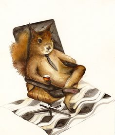 Picked this print up for the BF's Living Room #1(library room), since he plans on sitting by the fire with a cocktail & read. >Duncan Squirrel art coworker boss men by amberalexander on Etsy, $20.00