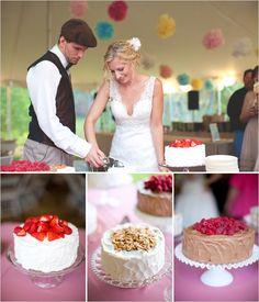 Simple wedding cakes. I like this idea