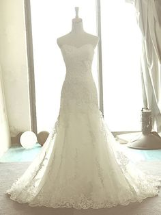 Charming Lace Applique Mermaid Wedding Dress/Bridal Gown/Bride Dress/Wedding Gown on Etsy, $234.00