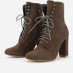 Lace Up High Heeled Ankle Boots ($47) ❤ liked on Polyvore featuring shoes, boots, ankle booties, laced boots, high heel bootie, high heel boots, lace-up bootie and lace-up booties
