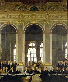 William Orpen - The Signing of Peace in the Hall of Mirrors, Versailles. This Day in History: Jun Treaty of Versailles Ends World War I Treaty Of Versailles, Palace Of Versailles, World War One, First World, Georges Clemenceau, Ww1 Art, Charles Lindbergh, La Dordogne, Hall Of Mirrors