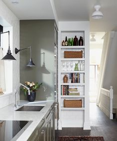 MazenStudio - desire to inspire - desiretoinspire.net Love the light fixtures and the narrow storage with subway tile on the inside