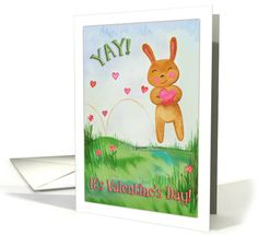 A sweet painting of a cute little cartoon bunny hopping across green grass holding a big pink heart. Text: Yay! It's Valentine's Day! Inside text: An excuse to tell you once again just how much I love you. Which is lots and lots and lots - and then some! Happy Valentine's Day to my precious niece!
