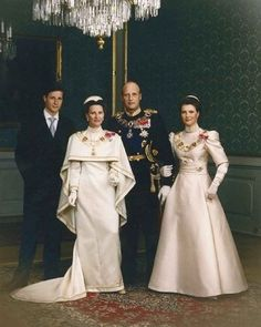 Norwegian Royal Family: An old picture of King Harald V of Norway, Queen Sonja, Crown Prince Haakon and Princess Martha Louise of Norway.
