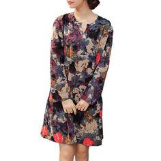 Vintage Women Floral Printed V Neck Long Sleeve Straight Cotton Linen Dress