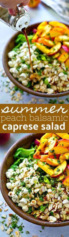 Juicy fresh peaches and a sweet 'n' tangy balsamic vinaigrette boost this killer summer caprese salad up a notch! All the best summer flavors and you can throw it together in 10!  | #HealthyEating #CleanEating #Salads  Sherman Financial Group