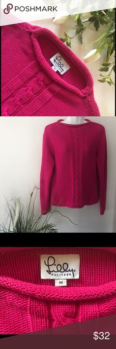 """Lilly Pulitzer Pink 100% Cotton Sweater Lilly Pulitizer 100% cotton pink sweater. Excellent condition. Bust 38""""  laying flat but will stretch, 22"""" length. Clean, non-smoking home. I package to protect your purchase & shipping is same or next day. Currently 30% bundle discount. Lilly Pulitzer Sweaters Crew & Scoop Necks"""