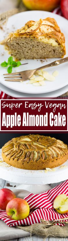 Satisfy your sweet tooth with this delicious vegan apple cake with almonds and cinnamon! It's so moist and fluffy at the same time! Vegan baking and vegan desserts in general can be SO easy! Find more vegan recipes at veganheaven.org <3