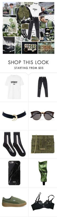 """""""so open your eyes; i'll be your side    BTS: J-Hope"""" by indie-fox ❤ liked on Polyvore featuring Givenchy, 99%IS, Illesteva, Issey Miyake, Tuscany Leather, Native Union, Aesop, Puma, Agent Provocateur and GREEN"""
