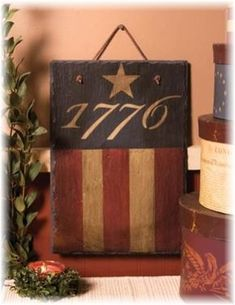 Add to your home décor with the Primitive Americana Slate. The 1776 wall hanging features the bold stars & stripes of the American flag. Americana Crafts, Patriotic Crafts, Country Crafts, July Crafts, Summer Crafts, Country Decor, Rustic Americana Decor, Country Signs, Patriotic Party