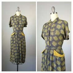 40s Grey & Yellow Abstract Print Dress / by CheshireVintageShop