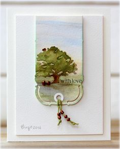 "#Rapport från ett skrivbord #Birgit | I used watercolors for the two dies from #Penny_Black ""Bookmark"" ""Trio of trees"" 