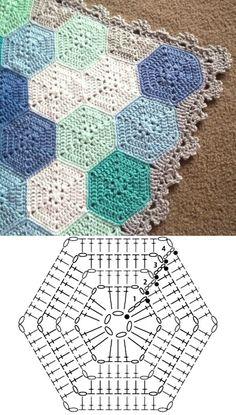 Hexagon Crochet Pattern, Crochet Bedspread Pattern, Crochet Motifs, Crochet Flower Patterns, Crochet Stitches Patterns, Crochet Diagram, Crochet Squares, Crochet Hexagon Blanket, Crochet Crafts