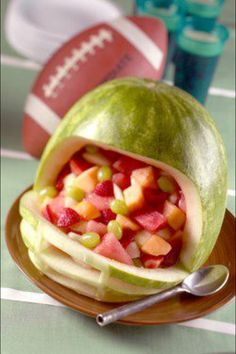 Watermelon Football helmet filled with fruit