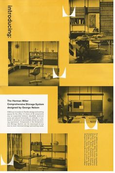 George Nelson, Comprehensive Storage System (CSS) for Herman Miller, May New to Market Swiss Design, Ad Design, Layout Design, Modern Graphic Design, Graphic Design Typography, Graphic Design Inspiration, Yearbook Design, Yearbook Theme, Hygge