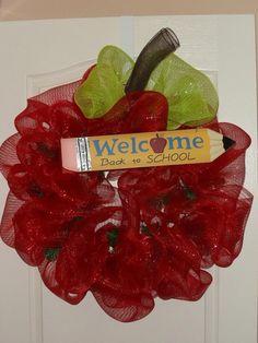 School Deco Mesh Wreath   Flickr - Photo Sharing!