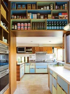shelves on top in different colors. up high places. countertops