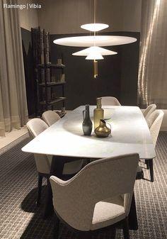 #euroluce #2017 #milaan #salonedelmobile #design #verlichting #Eikelenboom #flamingo #vibia #hanglamp Dining Room Light Fixtures, Dining Room Lighting, Interior Design Magazine, Kitchen Pendants, Pendant Lighting, Chandelier, Lighting Design, New Homes, Dining Table