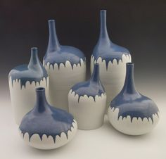SO COOOOL! Large Porcelain Cornflower Blue Batwing Bottle by JuliesAtelier, $650.00