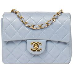 Preowned Timeless Mini Light Blue ($3,292) ❤ liked on Polyvore featuring bags, handbags, shoulder bags, blue, structured shoulder bags, zip shoulder bag, light blue handbags, chanel purse, mini handbags and leather shoulder bag