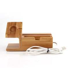Apple Watch / iPhone 6 Plus / iPhone Zamontuj uchwyt stojaka Apple Watch / iPhone 6 Plus / iPhone Bambus Posiadacz Wooden Toys, Usb, Iphone, Bamboo, Wooden Toy Plans, Wood Toys, Woodworking Toys
