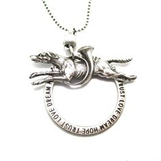 Greyhound Jumping Through A Hoop Shaped Animal Pendant Necklace in Silver | Jewelry for Dog Lovers