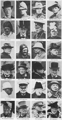 Churchill y sus sombreros a lo largo de los años.