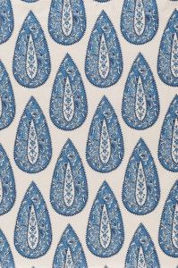 BINDI COBALT BLUE Paisley Print designer, drapery/bedding/upholstery ikat fabric
