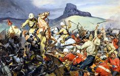 Battle of Isandlwana on 22 January 1879 was the first major encounter in the Anglo–Zulu War between the British Empire and the Zulu Kingdom; art by James Edwin McConnell.