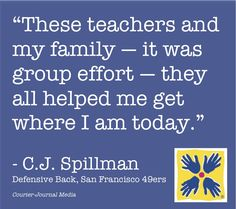 """Happy Super Bowl Sunday! Check out how a """"Spillman Support Group"""" helped make a difference for C.J. Spillman, San Francisco 49ers defensive back."""