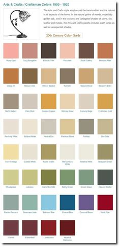 Arts & Crafts interior paint colors 1900-1920
