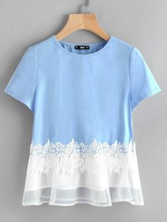 To find out about the Floral Lace Applique Mesh Hem Top at SHEIN, part of our latest T-Shirts ready to shop online today! Cute Casual Outfits, Simple Outfits, Pretty Outfits, Stylish Dresses For Girls, Stylish Dress Designs, Blouse Styles, Blouse Designs, Dress Shirts For Women, Clothes For Women
