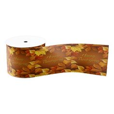 "Happy Thanksgiving 1  3"" Wide Grosgrain Ribbon"