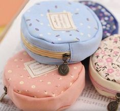 Details about Cute Round Women Girl Canvas Coin Purse Portable Mini Wallet Purse Zip Coin Bags - Sewing Hacks, Sewing Tutorials, Sewing Tips, Sewing Ideas, Mini Wallet, Purse Wallet, Diy Sac, Leftover Fabric, Coin Bag