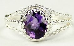 SR070, 9x7mm Amethyst, 925 Sterling Silver Ring * Stone Type - Amethyst * Approximate Stone Size - 9x7mm  * Approximate Stone Weight - 2.3 ct  * Jewelry Metal - Solid .925 Sterling Silver  * Approximate Metal Weight - 2.2 grams  * Ring Size - Size selectable during checkout * Our Warranty - A full year on workmanship  * Our Guarantee - Totally unconditional 30 day guarantee
