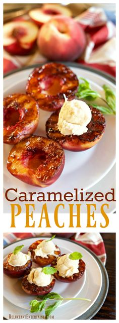 Do you love caramelized peaches, served with a small scoop of Vanilla ice cream? This Caramelized Peaches Recipe is the perfect summer dinner party dessert! Fruit Recipes, Summer Recipes, Dessert Recipes, Recipies, Barbecue Recipes, Grilling Recipes, Dinner Party Desserts, Delicious Fruit, Meals
