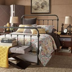 HomeSullivan Calabria Metal King-Size Standard Bed in Grey-40E411BK-1GABED - The Home Depot