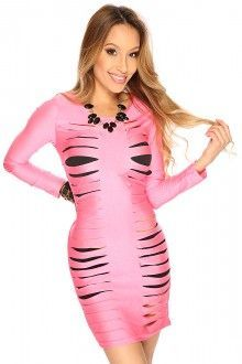 Pink Long Sleeves Body Con Sexy Club Wear Party Dress