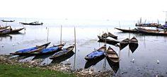 The fishing boats anchored at Chilika Lake, Odisha.