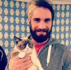 Awwwww! seth rollins with grumpy cat. how cute