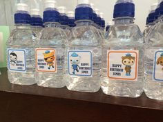 James' 3rd Birthday Octonauts Party water bottle labels