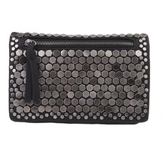 One Hell Of An Embellished Hardware Clutch - Black (694.855 IDR) ❤ liked on Polyvore featuring bags, handbags, clutches, black, embellished purses, black purse, strap purse, black studded purse and imitation handbags