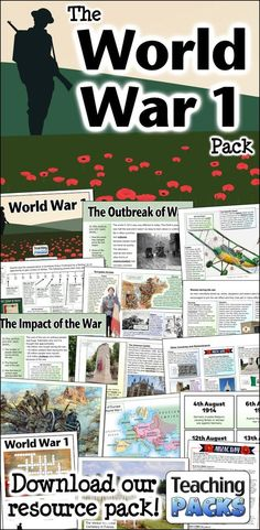 The World War 1 Pack - Resources for Teachers and Educators World History Classroom, History Teachers, Teaching History, Student Teaching, 7th Grade Social Studies, Social Studies Worksheets, Social Studies Classroom, 8th Grade History, Study History